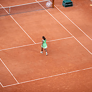 PARIS, FRANCE June 6. The lonely figure of Serena Williams of the United States as she heads to the net to shake hands after her loss against Elena Rybakina of Kazakhstan on Court Philippe-Chatrier during the fourth round of the singles competition at the 2021 French Open Tennis Tournament at Roland Garros on June 6th 2021 in Paris, France. (Photo by Tim Clayton/Corbis via Getty Images)