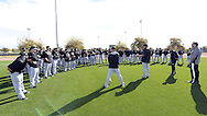 GLENDALE, AZ - FEBRUARY 24:  Coach Mark Parent of the Chicago White Sox addresses the team during spring training workouts on February 24, 2015 at The Ballpark at Camelback Ranch in Glendale, Arizona. (Photo by Ron Vesely)   Subject:   Mark Parent