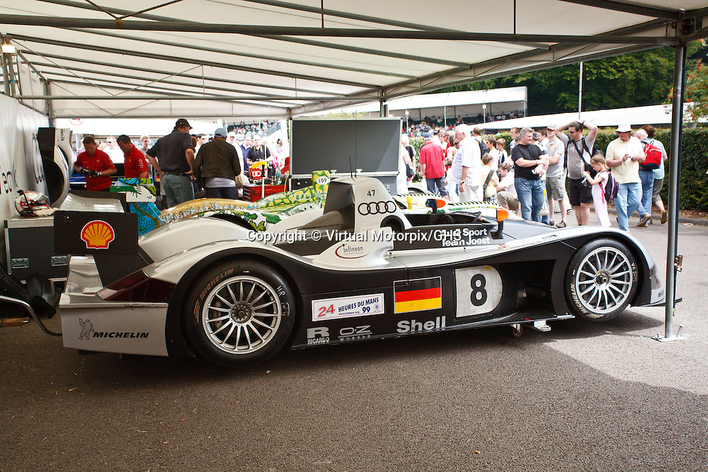 #8 Audi R8R, drivers: Frank Biela, Emanuele Pirro, Didier Theys (Le Mans overall 3rd 1999) at Goodwood FOS 4 July 2009