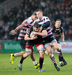 Dragons' Ben Roach under pressure from Cardiff Blues' Gareth Anscombe<br /> <br /> Photographer Simon King/Replay Images<br /> <br /> Guinness Pro14 Round 11 - Dragons v Cardiff Blues - Tuesday 26th December 2017 - Rodney Parade - Newport<br /> <br /> World Copyright © 2017 Replay Images. All rights reserved. info@replayimages.co.uk - www.replayimages.co.uk