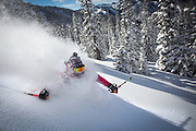Deep powder skiing in the Bridger Teton National Forest, near Jackson, Wyoming.  (photo by David Stubbs / davidstubbs.com)