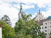 Austria, Tyrol, Schwaz. Church in Franz Josef pedestrian Street in the old town