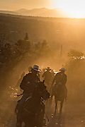 Hundreds of Mexican cowboys begin a day long ride at sunrise during the annual Cabalgata de Cristo Rey pilgrimage January 5, 2017 in La Sauceda, Guanajuato, Mexico. Thousands of Mexican cowboys and horse take part in the three-day ride to the mountaintop shrine of Cristo Rey stopping along the way at shrines and churches.