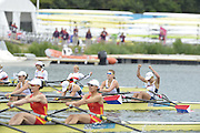 Eton Dorney, Windsor, Great Britain,..2012 London Olympic Regatta, Dorney Lake. Eton Rowing Centre, Berkshire[ Rowing]...Description;   USA W4X Bronze medalist, Natelie DELL, Kara HOLER, Megan KALMOE and Adrienne MARTELLI.    Dorney Lake...12:16:46  Wednesday  01/08/2012..[Mandatory Credit: Peter Spurrier/Intersport Images].