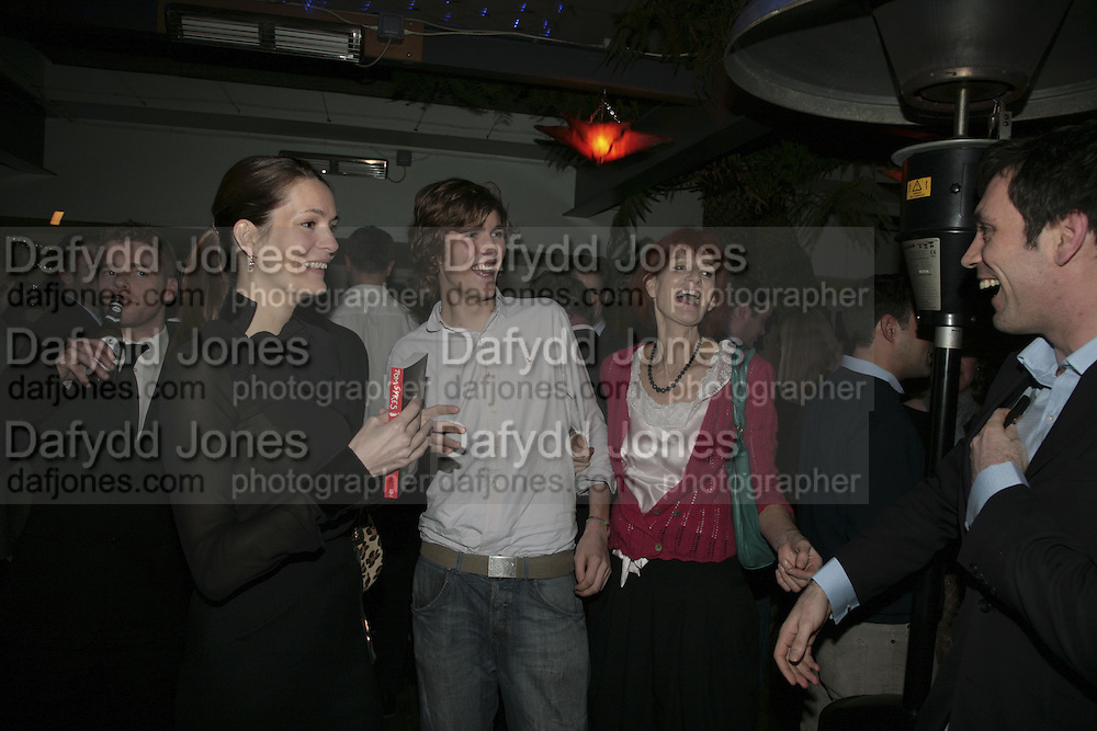 Plum Sykes, Josh Sykes, Valerie Goad and Tom Sykes,  Book launch for ' What Did I Do last night' by Tom Sykes. Century Club. Shaftesbury Ave. London. 16 January 2006. -DO NOT ARCHIVE-© Copyright Photograph by Dafydd Jones. 248 Clapham Rd. London SW9 0PZ. Tel 0207 820 0771. www.dafjones.com.