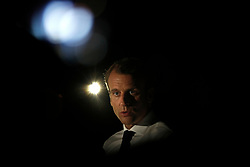 France's President Emmanuel Macron delivers a speech during a press conference during his visit in the French Caribbean islands of St. Martin, Tuesday, Sept. 12, 2017. Macron is in the French-Dutch island of St. Martin, where 10 people were killed on the French side and four on the Dutch after the passage of Hurricane Irma. Photo by Christophe Ena/Pool/ABACAPRESS.COM