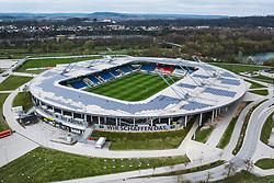 THEMENBILD - die NV Arena am Tag. Sie ist die Heimstätte des Österreichischen Fussball Bundesligisten SKN St. Pölten und hat ein Fassungsvermögen von 8.000 Zuschauern auf überdachten Sitzplätzen, aufgenommen am 16. April 2021 in St. Poelten, Oesterreich // the NV Arena during the Day. It is the home ground of the Austrian Football League team SKN St. Pölten and has a capacity of 8,000 spectators in covered seats. St. Poelten, Austria on 2021/04/16. EXPA Pictures © 2021, PhotoCredit: EXPA/ JFK