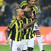 Fenerbahce's Moussa Sow (C) celebrate his goal with team mate during their Turkish superleague soccer derby match Fenerbahce between Besiktas at Sukru Saracaoglu stadium in Istanbul Turkey on Sunday 05 February 2012. Photo by TURKPIX
