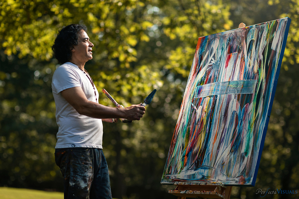 Artist John Kelly Aguilera.<br /> <br /> Photographed, Thursday, August 1, 2019, in Oakridge, N.C. JERRY WOLFORD and SCOTT MUTHERSBAUGH / Perfecta Visuals