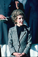 President Ronald and First Lady Nancy Reagan talk before the start of a  arrival ceremony for Mohammad Zia of Pakistan on December 6, 1982<br />Photo by Dennis Brack