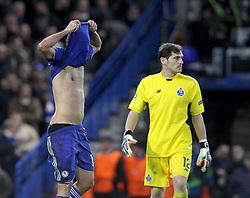 Diego Costa of Chelsea lifts his shirt of his head after missing a goal scoring chance - Mandatory byline: Paul Terry/JMP - 09/12/2015 - Football - Stamford Bridge - London, England - Chelsea v FC Porto - Champions League - Group G