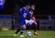 Conor Chaplin of Portsmouth battles with Yaser Kasim of Northampton Town (r). EFL Skybet Football League one match, Northampton Town v Portsmouth at the Sixfields Stadium in Northampton on Tuesday 12th September 2017. <br /> pic by Bradley Collyer, Andrew Orchard sports photography.