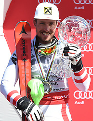 19.03.2017, Aspen, USA, FIS Weltcup Ski Alpin, Finale 2017, Gesamtweltcup, Herren, Siegerehrung, im Bild Marcel Hirscher (AUT, Slalom Riesenslalom und Gesamt Weltcup Sieger) mit der Kristrallkugel für den Gesamtweltcupsieg // Winner of Slalom Giant Slalom and Overall World Cup Marcel Hirscher of Austria with the crystal globe for the men's overall World Cup during the winner award ceremony for the mens's Overall winner of 2017 FIS ski alpine world cup finals. Aspen, United Staates on 2017/03/19. EXPA Pictures © 2017, PhotoCredit: EXPA/ Erich Spiess