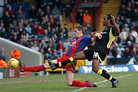Photo: Tony Oudot.<br />Crystal Palace v Birmingham City. Coca Cola Championship. 17/02/2007.<br />Cameron Jerome of Birmingham City comes close in an attack but it is cleared by Mark Hudson of Palace