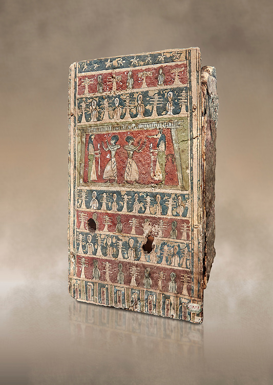 Ancient Egyptian Canopic chest for internal organs. showing deceased worshiping Osiris, wood, Late Period(722-332 BC), Egyptian Museum, Turin. Old Fund Cat 2424. <br /> <br /> Canopic chests are cases used by Ancient Egyptians to contain the internal organs removed during the process of mummification. .<br /> <br /> If you prefer to buy from our ALAMY PHOTO LIBRARY  Collection visit : https://www.alamy.com/portfolio/paul-williams-funkystock/ancient-egyptian-art-artefacts.html  . Type -   Turin   - into the LOWER SEARCH WITHIN GALLERY box. Refine search by adding background colour, subject etc<br /> <br /> Visit our ANCIENT WORLD PHOTO COLLECTIONS for more photos to download or buy as wall art prints https://funkystock.photoshelter.com/gallery-collection/Ancient-World-Art-Antiquities-Historic-Sites-Pictures-Images-of/C00006u26yqSkDOM