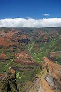 Midday view over Waimea Canyon, in Waimea Canyon State Park, Kauai, Hawaii.