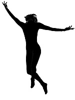one woman modern dancer dancing exercising workout  in shadow silhouette full length in studio isolated white background