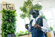 A participant experiences the session Tree: A Virtual Reality Experience at the World Forum World Economic Forum on Africa 2019. Copyright by World Economic Forum / Greg Beadle