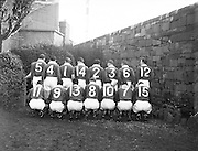 Irish Rugby Football Union, Ireland v England, Five Nations, Landsdowne Road, Dublin, Ireland, Saturday 12th February, 1955,.12.2.1955, 2.12.1955,..Referee- Mr A I Dickie, Scottish Rugby Union,..Score- Ireland 6 - 6 England, ..Irish Team,..W R Tector, Wearing number 15 Irish jersey, Full Back, Wanderers Rugby Football Club, Dublin, Ireland, ..A C Pedlow, Wearing number 14 Irish jersey, Right wing, Queens University Rugby Football Club, Belfast, Northern Ireland,..N J Henderson, Wearing number 13 Irish jersey, Right centre, N.I.F.C, Rugby Football Club, Belfast, Northern Ireland,..A J O'Reilly, Wearing number 12 Irish jersey, Left Centre, Old Belvedere Rugby Football Club, Dublin, Ireland,..J T Gaston, Wearing number 11 Irish jersey, Left wing, Dublin University Rugby Football Club, Dublin, Ireland, ..J W Kyle, Wearing number 10 Irish jersey, Outside Half, N.I.F.C, Rugby Football Club, Belfast, Northern Ireland,..J A O'Meara, Wearing number 9 Irish jersey, Scrum, Dolphin Rugby Football Club, Cork, Ireland, ..F E Anderson, Wearing number 1 Irish jersey, Forward, N.I.F.C, Rugby Football Club, Belfast, Northern Ireland,..R Roe, Wearing number 2 Irish jersey, Forward,  Landsdowne Rugby Football Club, Dublin, Ireland, ..P J O'Donoghue, Wearing  Number 3 Irish jersey, Forward, Bective Rangers Rugby Football Club, Dublin, Ireland,  ..M N Madden, Wearing number 4 Irish jersey, Forward, Sundays Well Rugby Football Club, Cork, Ireland,..T E Reid, Wearing number 5 Irish jersey, Forward, Garryowen Rugby Football Club, Limerick, Ireland, and, London Irish Rugby Football Club, Surrey, England, ..M J Cunningham,  Wearing number 6 Irish jersey, Forward, University college Cork Rugby Football Club, Cork, Ireland,  ..J R Kavanagh, Wearing number 7 Irish jersey, Forward, Wanderers Rugby Football Club, Dublin, Ireland, ..J S McCarthy, Wearing number 8 Irish jersey, Captain of the Irish team, Forward, Dolphin Rugby Football Club, Cork, Ireland, .