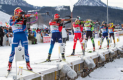 13.12.2014, Biathlonarena, Hochfilzen, AUT, E. ON IBU Weltcup, Staffel, Damen, im Bild Feature Massenstart, Schiessstand, v.l.: Gabriela Soukalova (CZE), Olga Podchufarova (RUS), Nicole Gontier (ITA) // during Womens Relay of E. ON IBU Biathlon World Cup at the Biathlonstadium in Hochfilzen, Austria on 2014/12/13. EXPA Pictures © 2014, PhotoCredit: EXPA/ JFK