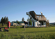 "The Beagle-Shaped Guesthouse<br /> <br /> Cottonwood, Idaho is home to Dog Bark Park Inn, a bed and breakfast-style guesthouse shaped like a giant beagle. Its unique shape, created by its wood-carving owners Dennis and Frances, is reminiscent of roadside tourist attractions from early car travel days. The artistic couple makes and sells chainsaw sculptures on site and the ""World's Biggest Beagle"" guesthouse can be reserved for up to 4 people. <br /> ©Exclusivepix"