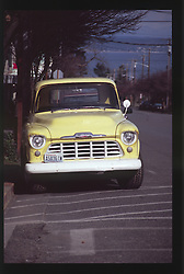 Vintage Yellow Truck, Port Townsend, Olympic Peninsula, Washington, US