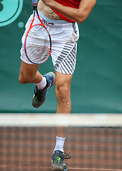 April 13, 2018 - Houston, TX, U.S. - HOUSTON, TX - APRIL 13:  Ivo Karlovic of Croatia warms up in the match against Nick Kyrgios of Australia during the Quarterfinal round of the Men's Clay Court Championship on April 13, 2018 at River Oaks Country Club in Houston, Texas.  (Photo by Leslie Plaza Johnson/Icon Sportswire) (Credit Image: © Leslie Plaza Johnson/Icon SMI via ZUMA Press)