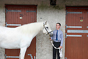 15/08/2013. Peter O Malley from Achill with his Connemara pony  at the 90th Connemara Pony show in Clifden Co. Galway. Photo:Andrew Downes