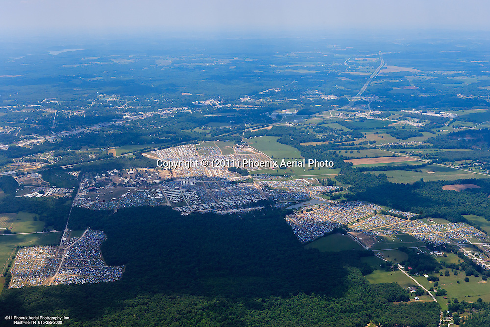 Aerial photo of the four day Bonnaroo Music Festival held in Manchester Tennessee every June. www.bonnaroo.com
