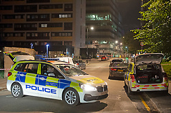 ©Licensed to London News Pictures 17/06/2020<br /> Croydon, UK. Police cars on scene. A man in his twenties is fight for his life in hospital tonight after being stabbed in Croydon, South East London. Police and paramedics were called at 7.45pm. Police are on scene and a cordon is in place. Photo credit: Grant Falvey/LNP