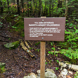 Trail sign at start of the Chimney Pond Trail in Maine's Baxter State Park.