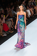Sea green, aqua and purple strapless gown. By Monique Lhuillier at Spring 2013 Fall Fashion Week in New York.