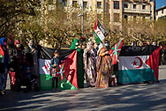 Saharawi women show basque and saharawi flags during a demonstration to demand the end of Morocco's occupation in Western Sahara, in support of the Polisario Front and to demand solutions from the Spanish government. Irun (Basque Country). November 21, 2020. The Polisario Front declared a state of war in Western Sahara as they say Morocco broke the ceasefire agreement in force since 1991, after Morocco sent the Army to Guerguerat, on the border between western Sahara and Mauritania to dismantle the blockade of some Saharan protesters. (Gari Garaialde / Bostok Photo)