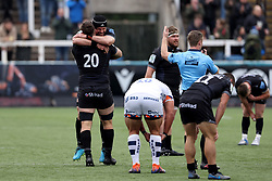Newcastle Falcons' Gary Graham and Will Welch celebrate their team's 13-5 victory during the Gallagher Premiership match at Kingston Park, Newcastle upon Tyne. Picture date: Saturday October 16, 2021.
