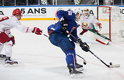 Floran Douay of France vs Kevin Lalande of Belarus during the 2017 IIHF Men's World Championship group B Ice hockey match between National Teams of France and Belarus, on May 12, 2017 in AccorHotels Arena in Paris, France. Photo by Vid Ponikvar / Sportida