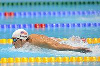 LONDON OLYMPIC GAMES 2012 - AQUATICS CENTRE , LONDON (ENG) - 04/08/2012 - PHOTO : POOL / KMSP / DPPI<br /> <br /> SWIMMING -  MEN'S 400 M INDIVIDUAL MEDLEY - HEAT 1 - MICHAEL PHELPS (USA)