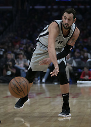 November 15, 2018 - Los Angeles, California, U.S - Marco Belinelli #18 of the San Antonio Spurs passes the ball during their NBA game with the Los Angeles Clippers on Thursday November 15, 2018 at the Staples Center in Los Angeles, California. Clippers defeat Spurs, 116-111. (Credit Image: © Prensa Internacional via ZUMA Wire)