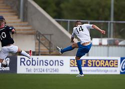 Morton's Reece Hands scoring their goal.<br /> Falkirk 3 v 1 Morton, Scottish Championship 17/8/2013.<br /> ©Michael Schofield.
