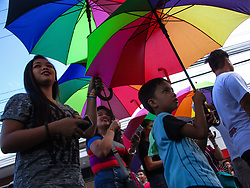 June 24, 2017 - Marikina, Philippines - Participants take part in the annual LGBT (lesbian, gay, bisexual, and transgender) Pride Parade in Marikina City, east of Manila, Philippines. Thousands of members and supporters of the Lesbian, Gay, Bisexual, and Transgender (LGBT) community marched in the 21st year of the oldest pride march in Southeast Asia, as they called on for the passage of anti-discrimination laws protecting the LGBT community, as well as for the legalization of same-sex marriage in the predominantly Catholic country. (Credit Image: © Richard James M. Mendoza/Pacific Press via ZUMA Wire)