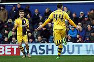 Ross McCormack of Fulham celebrates after scoring his teams 1st goal.  Skybet football league championship match, Queens Park Rangers v Fulham at Loftus Road Stadium in London on Saturday 13th February 2016.<br /> pic by Steffan Bowen, Andrew Orchard sports photography.