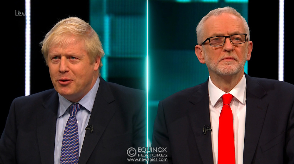 Broadcast TV, United Kingdom - 19 November 2019<br /> Labour leader Jeremy Corbyn and Prime Minister Boris Johnson debate live on ITV tonight as part of the 2019 general election campaign.<br /> (supplied by: Supplied by: EQUINOXFEATURES.COM)<br /> Picture Data:<br /> Contact: Equinox Features<br /> Date Taken: 20191119<br /> Time Taken: 212336<br /> www.newspics.com