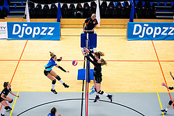 Marly Bak of Zwolle, Kirsten van der Lecq of VCN in action during the first league match between Djopzz Regio Zwolle Volleybal - Laudame Financials VCN on February 27, 2021 in Zwolle.