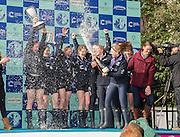 London. UNITED KINGDOM.  162nd BNY Mellon Boat Race and The 71st Newton Women's Boat Race on the Championship Course, River Thames, Putney/Mortlake.  Sunday  27/03/2016    [Mandatory Credit. Intersport Images]<br /> <br /> Oxford University Women's Boat Club {OUWBC} vs Cambridge University Women's Boat Club {CUWBC} <br /> <br /> Oxford, Crew Cox – Morgan Baynham-Williams, Stroke – Lauren Kedar, 7 – Maddy Badcott, 6 – Anastasia Chitty, 5 – Elo Luik, 4 – Ruth Siddorn, 3 – Joanneke Jansen, 2 – Emma Spruce, Bow – Emma Lukasiewicz<br /> <br /> Cambridge, Crew Bow Ashton Brown, 2 Fiona Macklin, 3 Alice Jackson, 4 Thea Zabell, 5 Daphne Martschenko, 6 Myriam Goudet, 7 Hannah Roberts, Stroke Zara Goozee, Cox Rosemary Ostfeld.