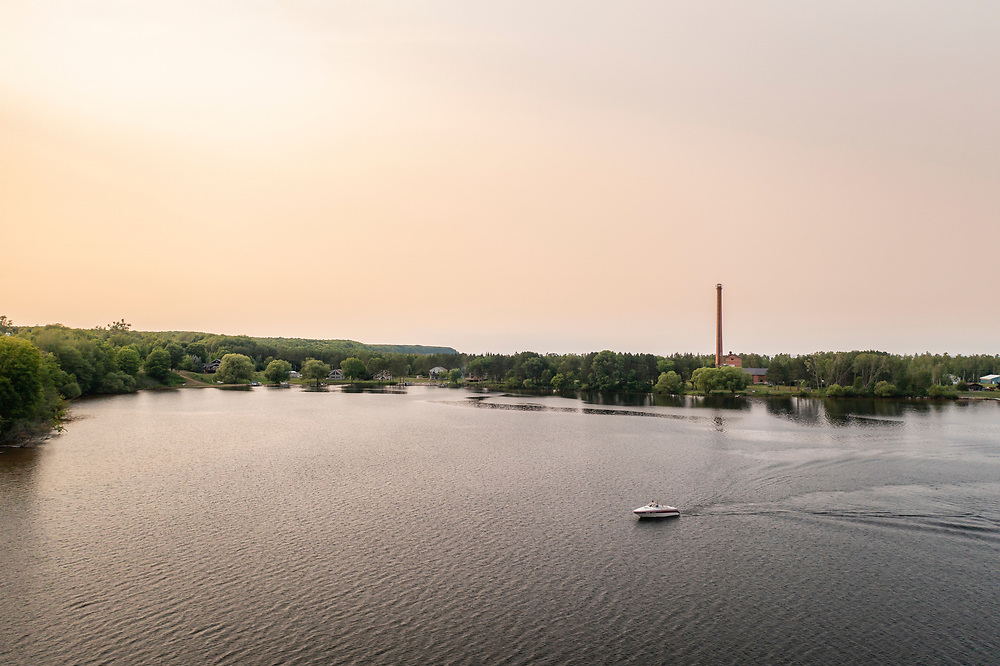 Aerial view of Lake Independence in Big Bay, Michigan.