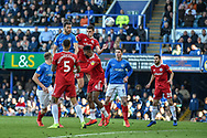 Portsmouth Defender, Christian Burgess (6) with a header at goal during the EFL Sky Bet League 1 match between Portsmouth and Accrington Stanley at Fratton Park, Portsmouth, England on 4 May 2019.