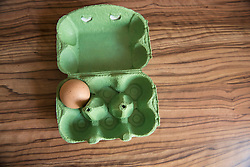 High angle view of egg tray on table, Munich, Bavaria, Germany