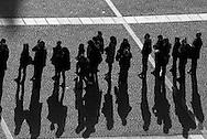 France. Paris tourists waiting in line / la foule sur le parvis de Beaubourg, les touristes font la queue