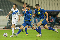 ATHENS, GREECE - OCTOBER 14: Kostas Fortounisof Greece, Ibrahim Dresevicof Kosovo and Anel Rashkajof Kosovo during the UEFA Nations League group stage match between Greece and Kosovo at OACA Spyros Louis on October 14, 2020 in Athens, Greece. (Photo by MB Media)