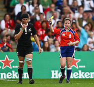 5th September 2010, Twickenham Stoop, London, England: Melissa Ruscoe of New Zealand of New Zealand is sin-binned during the IRB Women's Rugby World Cup final between England and New Zealand Black Ferns. New Zealand won 13-10, capturing the trophy for the 4th time.  (Photo by Andrew Tobin www.slikimages.com)