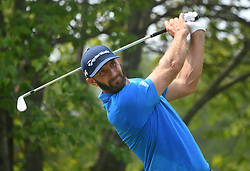 August 12, 2018 - St. Louis, Missouri, U.S. - ST. LOUIS, MO - AUGUST 12: Dustin Johnson hits his shot on the #2 tee during the final round of the PGA Championship on August 12, 2018, at Bellerive Country Club, St. Louis, MO.  (Photo by Keith Gillett/Icon Sportswire) (Credit Image: © Keith Gillett/Icon SMI via ZUMA Press)
